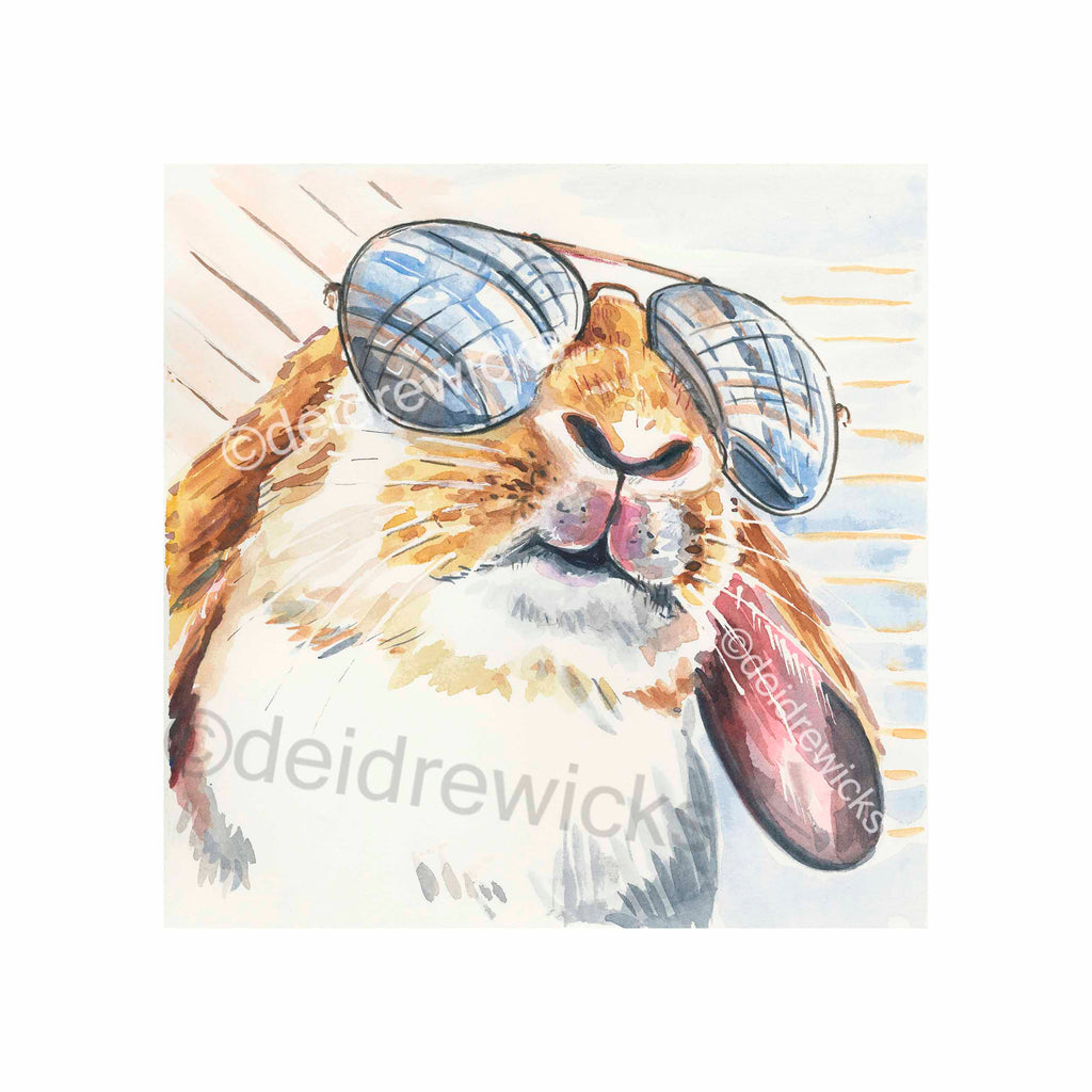 Watercolour painting of a cool lop eared rabbit wearing aviator glasses