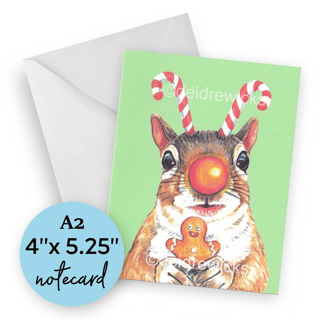 Christmas squirrel notecard by artist Deidre Wicks, blank inside