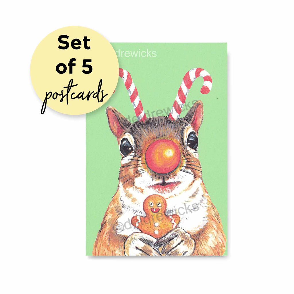 Set of Christmas Rudolph Squirrel Postcards - Send as a Christmas greeting