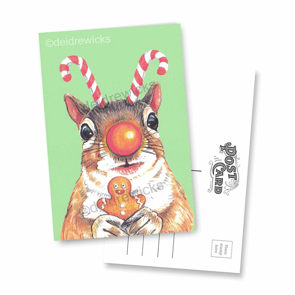 Crayon art of a Squirrel who really loves Christmas by Deidre Wicks