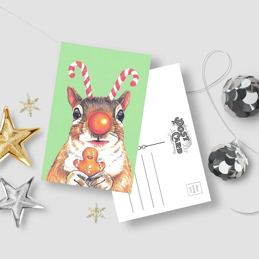 Christmas Rudolph Squirrel Postcard - Set of Post Cards Featuring a Squirrel with Antlers and a shiny nose