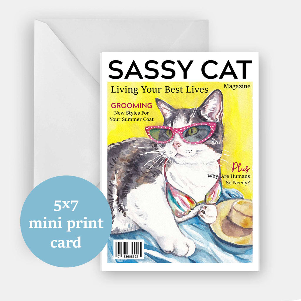 Archival greeting card of a watercolor of my cat Mitzi posing on the cover of a magazine