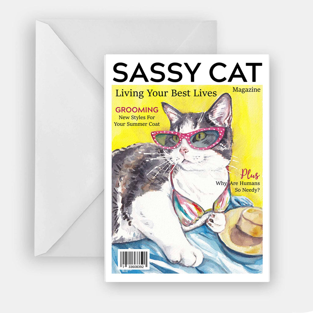 A7 Greeting card of a watercolour of a tabby cat cover model