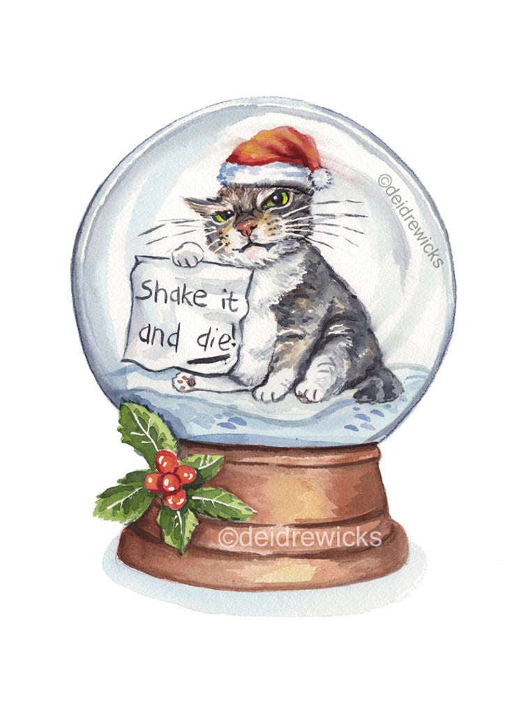 Watercolour Christmas art featuring a grumpy cat wearing a santa hat inside a snow globe