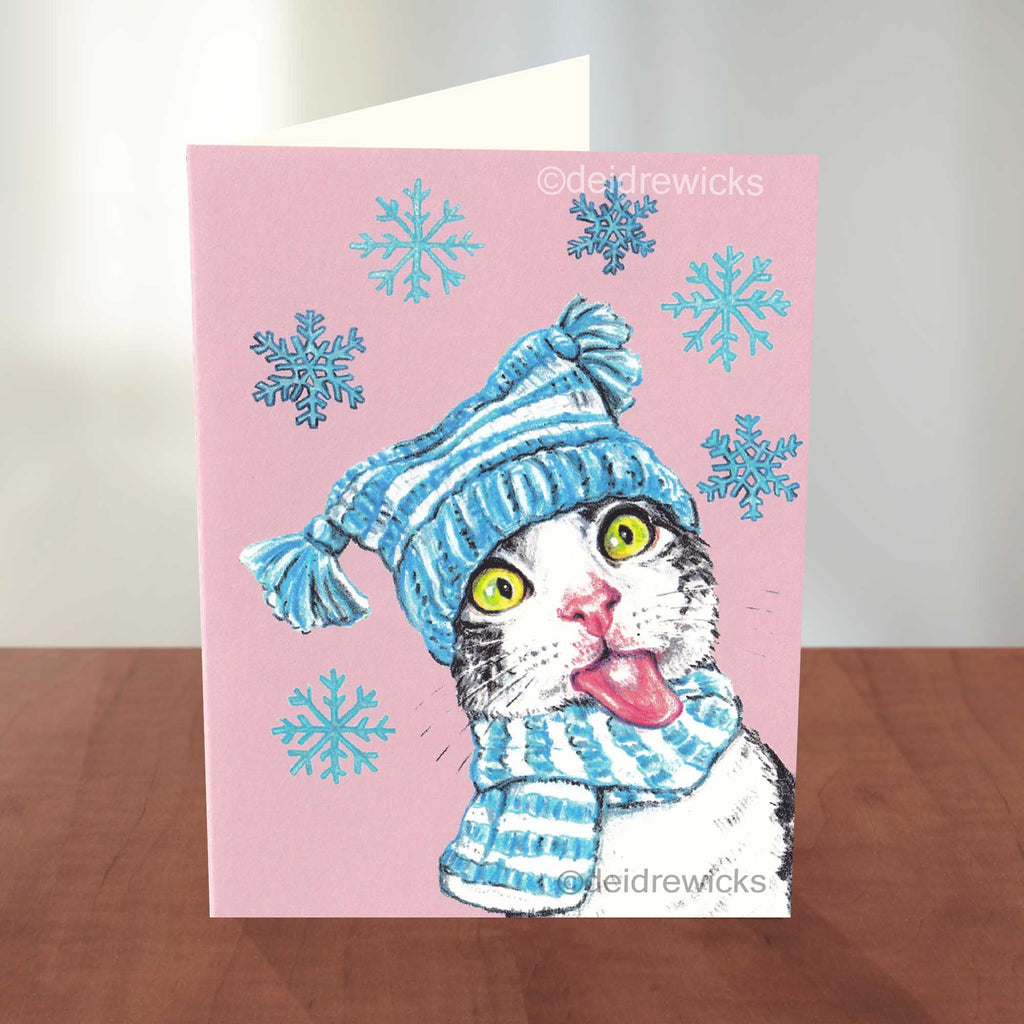 Blank notecard of a Festive grey tabby trying to catch snowflakes with her tongue, eco-friendly Christmas card