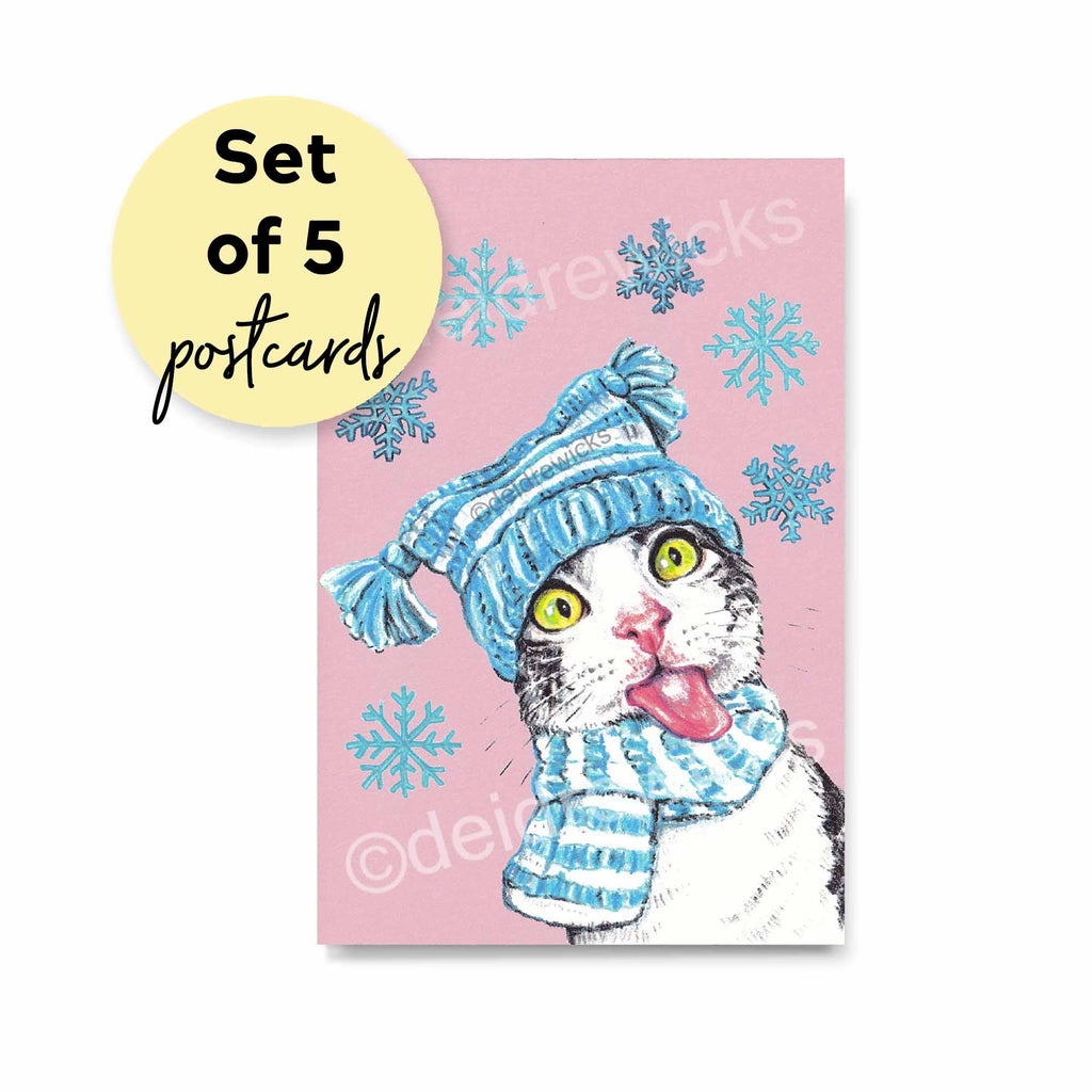 Festive Winter Christmas Cat set of Postcards, send your holiday greetings