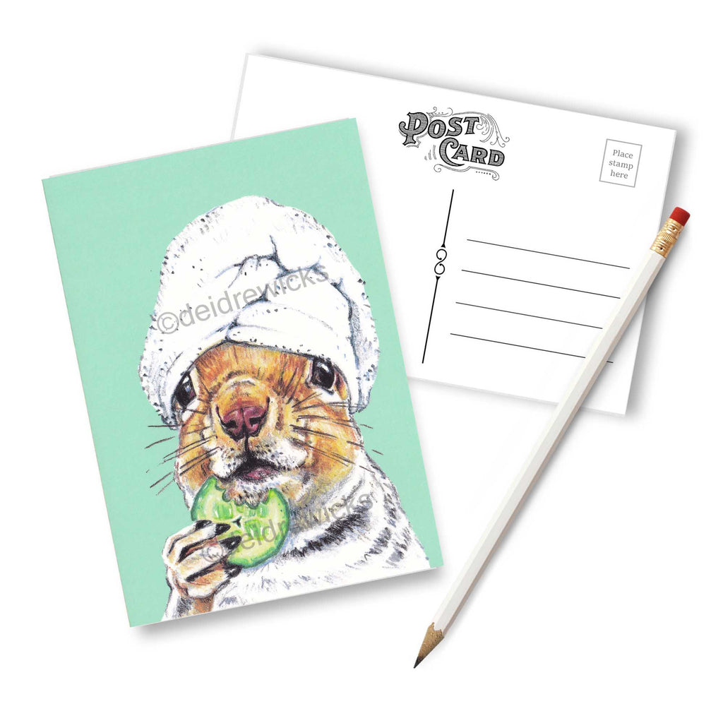 Squirrel Postcard featuring original crayon art by Deidre Wicks