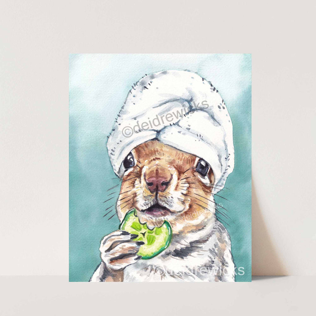 Watercolor of a squirrel at the space eating a cucumber slice fine art print