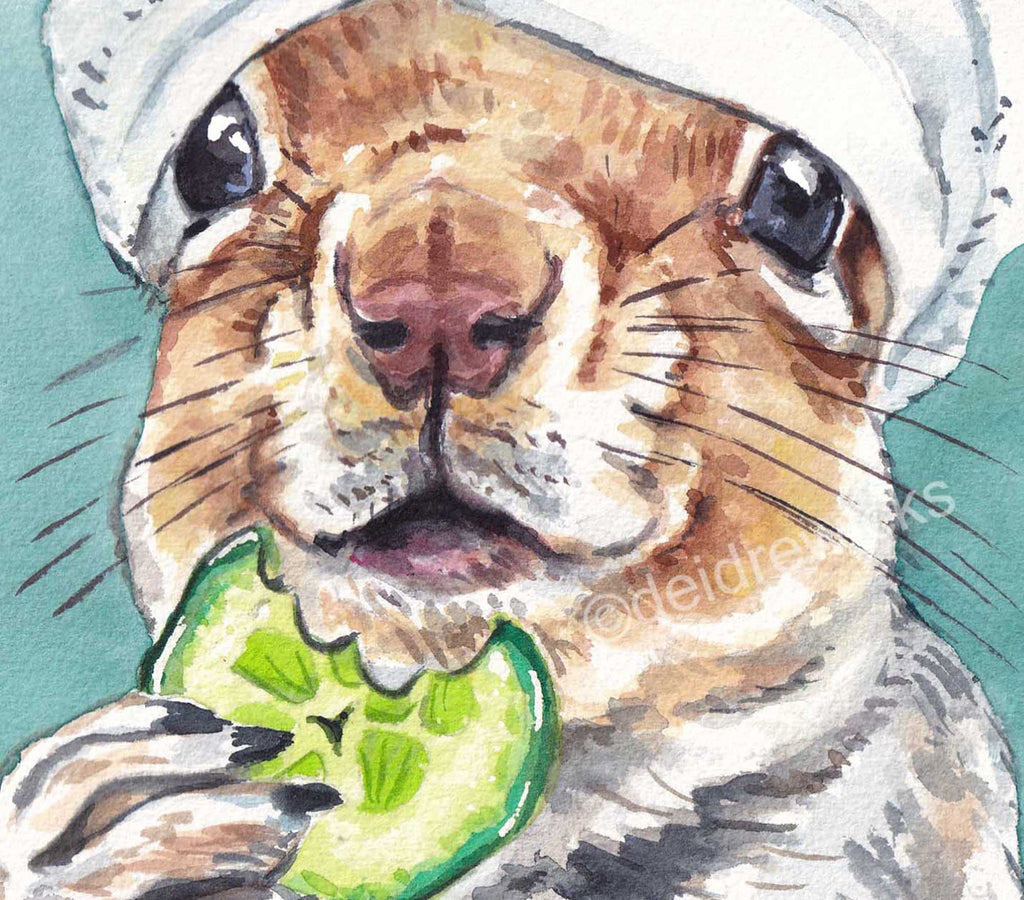 Close up of a watercolor painting of a squirrel eating a slice of cucumber