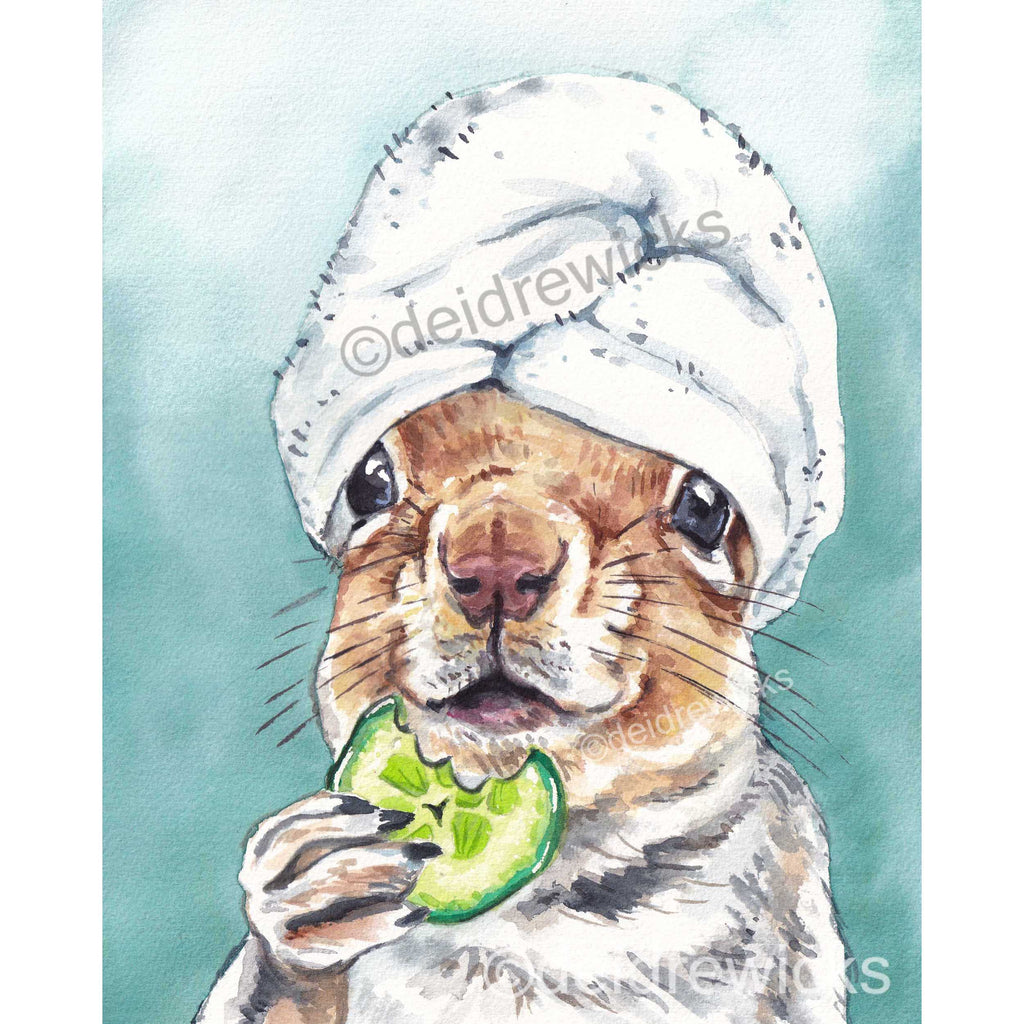 Squirrel at the Spa Watercolour Painting PRINT for a nursery or any other room