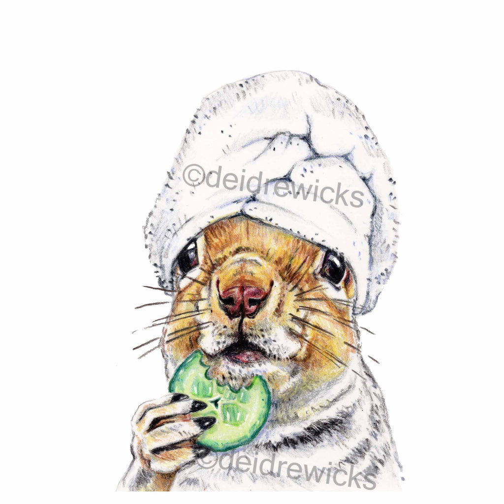 Crayon painting of a squirrel with a towel on it's head at the spa and munching a cucumber slice