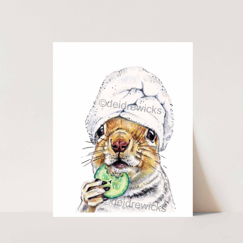 Print of a squirrel at the spa crayon illustration by artist Deidre Wicks