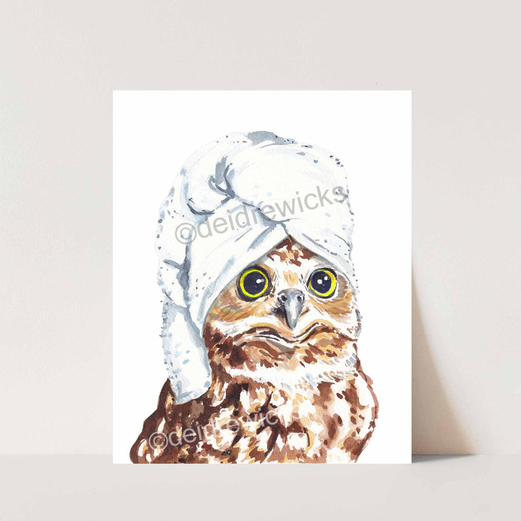 Owl watercolouring painting Print. Even owls need a day at the spa, Art by Deidre Wicks