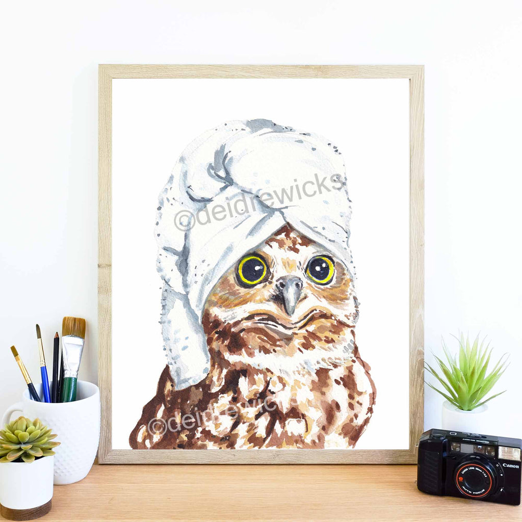 Framed example of a funny owl watercolour print by Water In My Paint