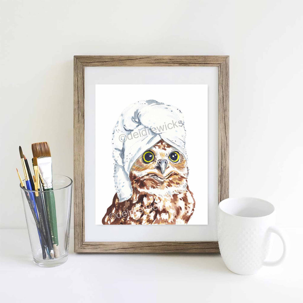 Example of how to mat and frame an animal watercolour painting by Deidre Wicks
