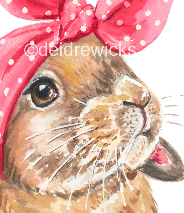 Close up of a lop eared rabbit watercolour painting by Watter In My Paint