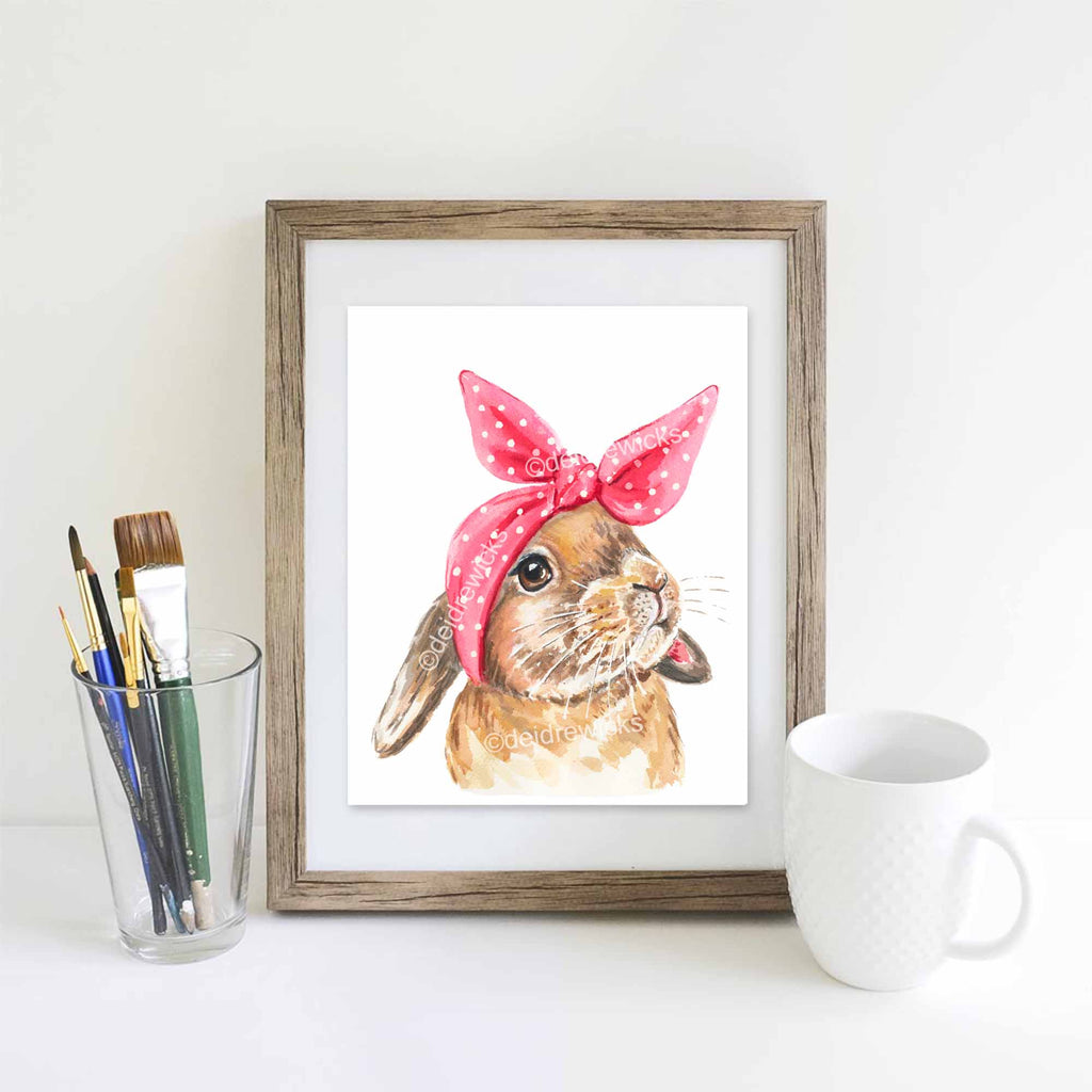 Example of a framed bunny rabbit watercolour painting by Deidre Wicks