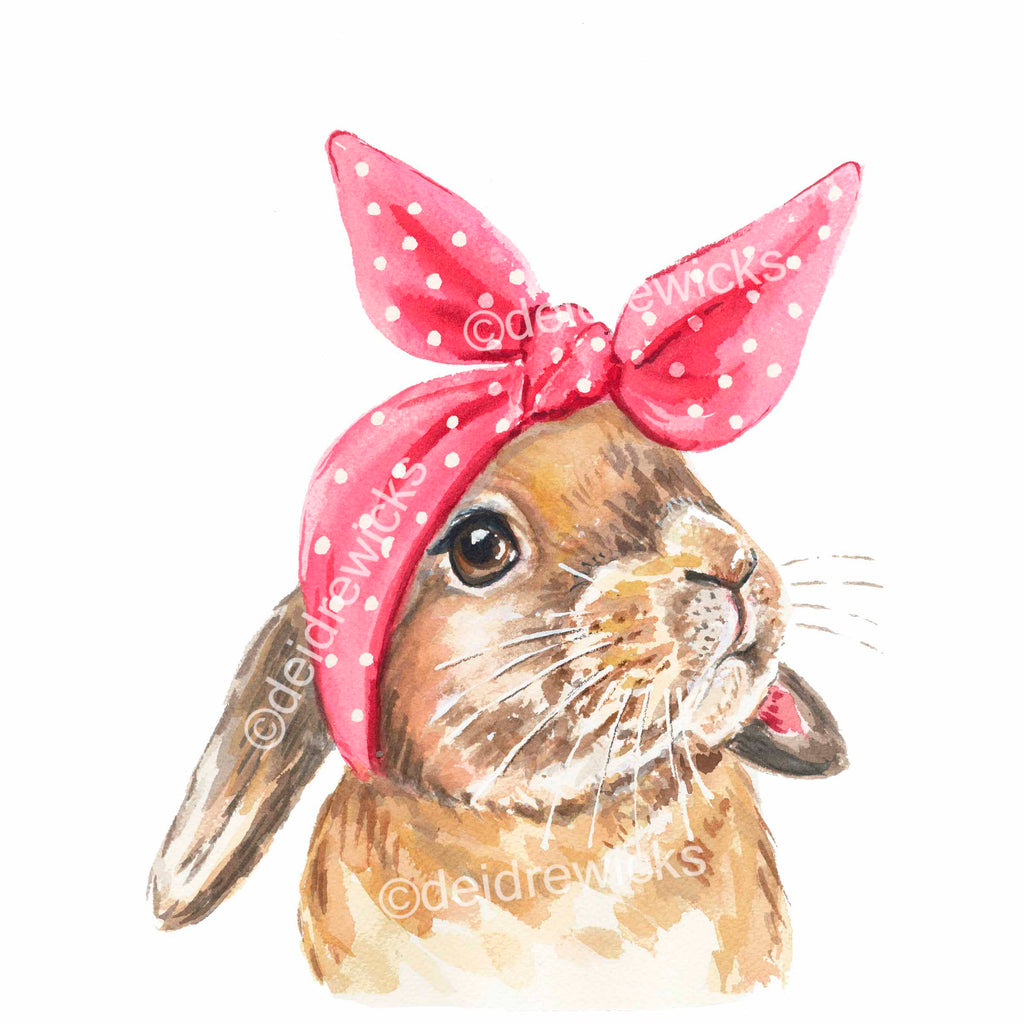 Watercolor painting of a lop eared rabbit wearing a headscarf that looks like bunny ears