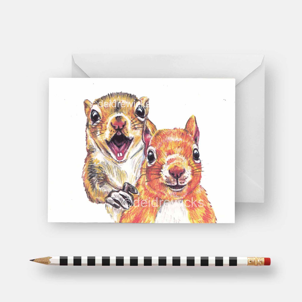 Squirrel notecard featuring an original crayon drawing of 2 happy bff squirrels