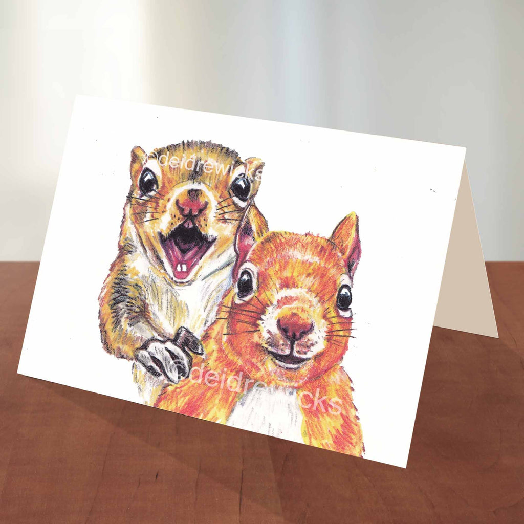 Blank A2 note card featuring an illustration of 2 happy squirrels by Deidre Wicks
