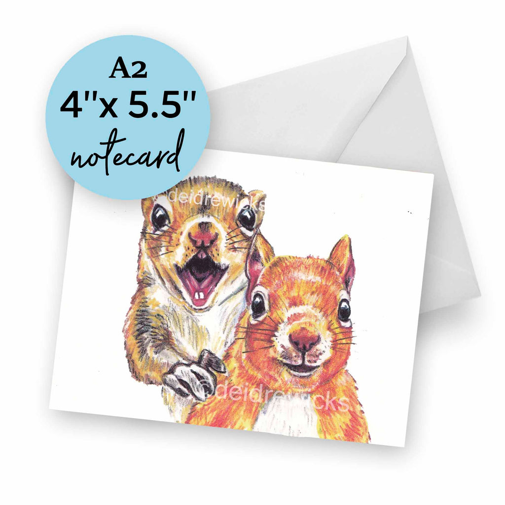 A2 blank note card, perfect for the squirrel lover in your life. Eco-friendly and recyclable