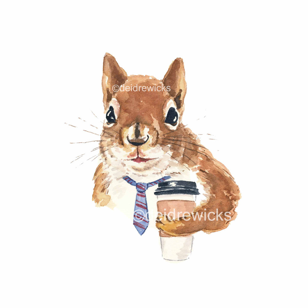Watercolour painting of a squirrel wearing a tie and holding a coffee cup