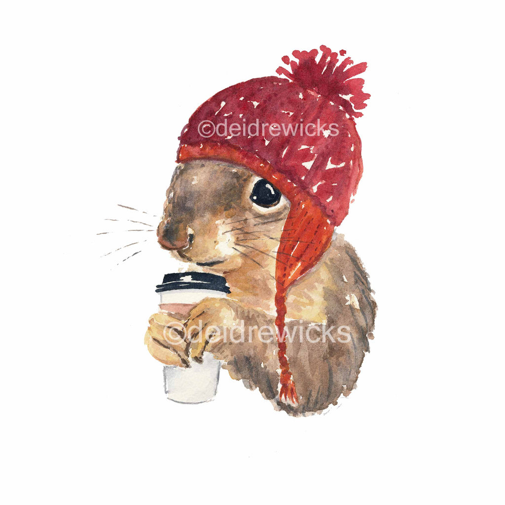 Watercolour painting of a squirrel wearing a red knitted hat and sipping a cup of coffee