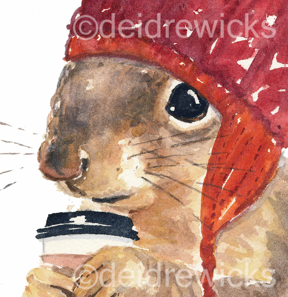 Close up of a coffee squirrel watercolour painting print by Water In My Paint