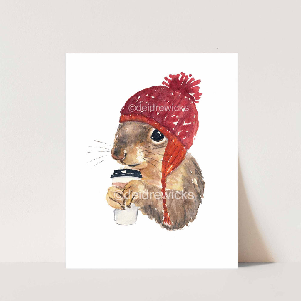 Animal watercolour painting of a squirrel wearing a hat and drinking coffee by artist Deidre Wicks