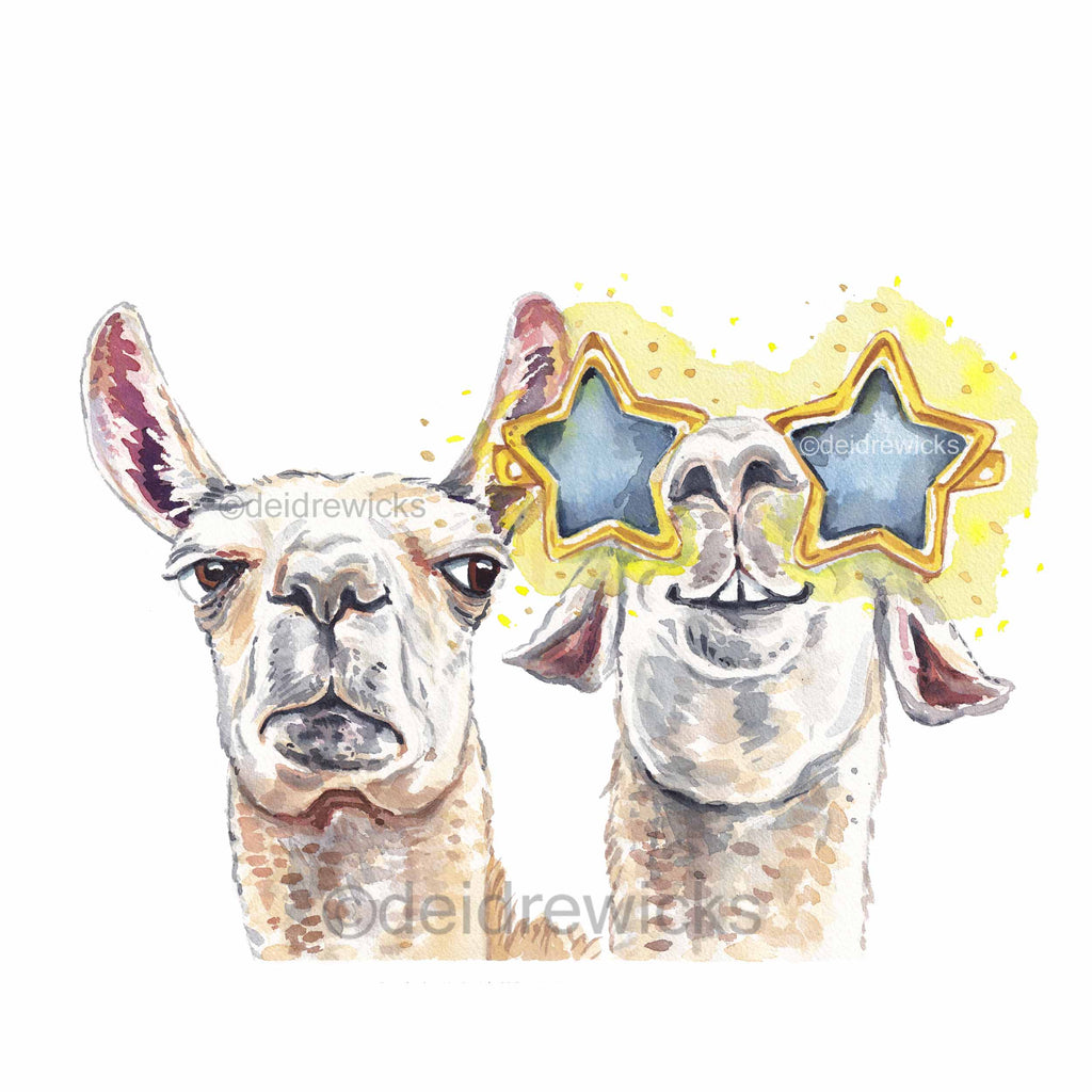 Watercolour painting of two llamas, one who's angry that the other is stealing his spotlight