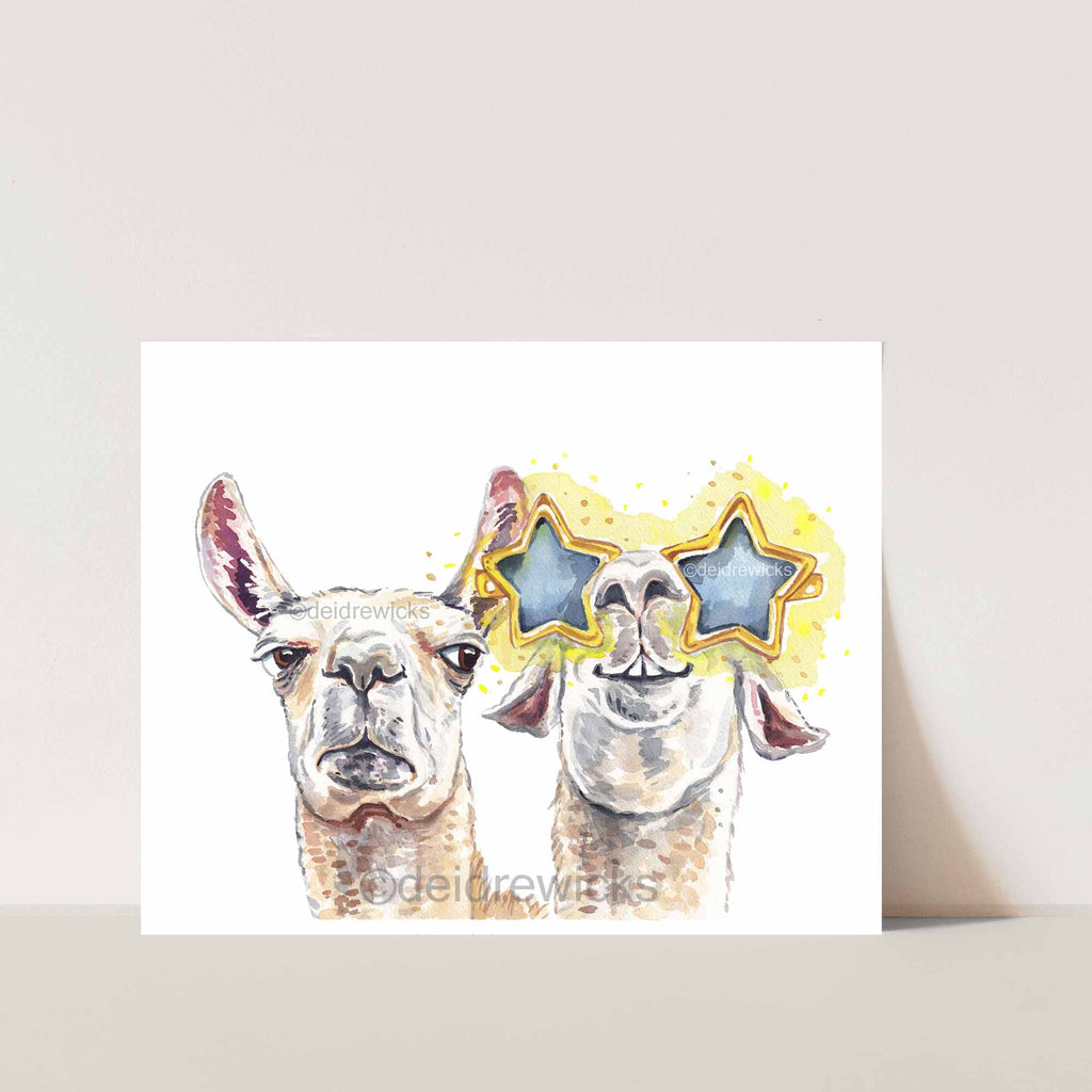Funny llama watercolour painting archival print by Deidre Wicks