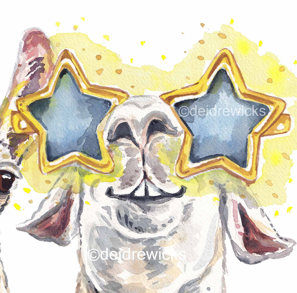 Detail of a llama wearing star-shaped sunglasses, watercolour by Deidre Wicks