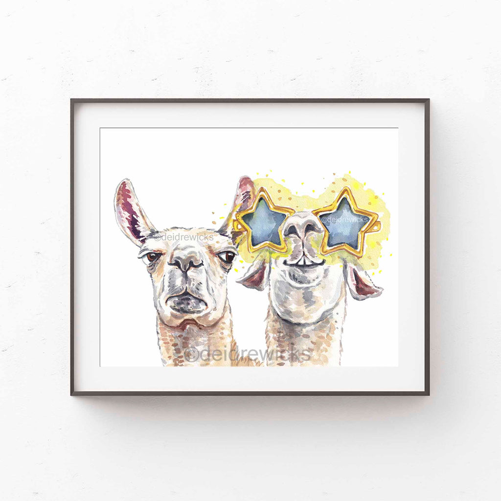 Framed example of a funny llama watercolour painting by Water In My Paint
