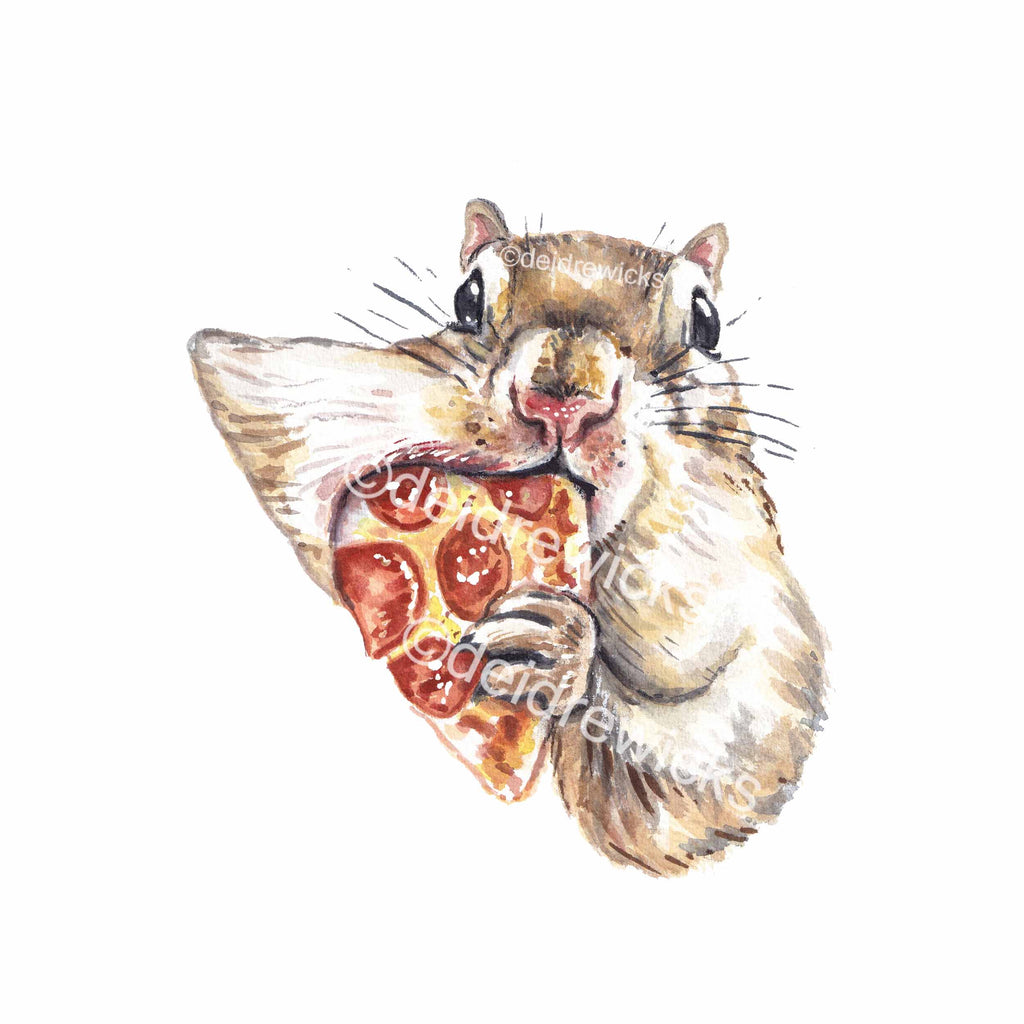 Watercolor painting of a squirrel stuffing a piece of pepperoni pizza in it's mouth