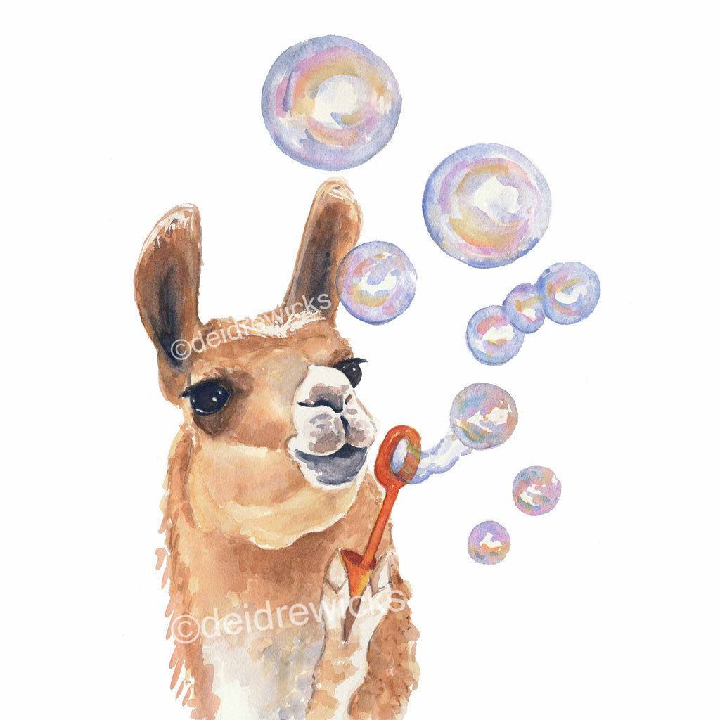 Watercolor painting of a llama blowing bubbles by Deidre Wicks