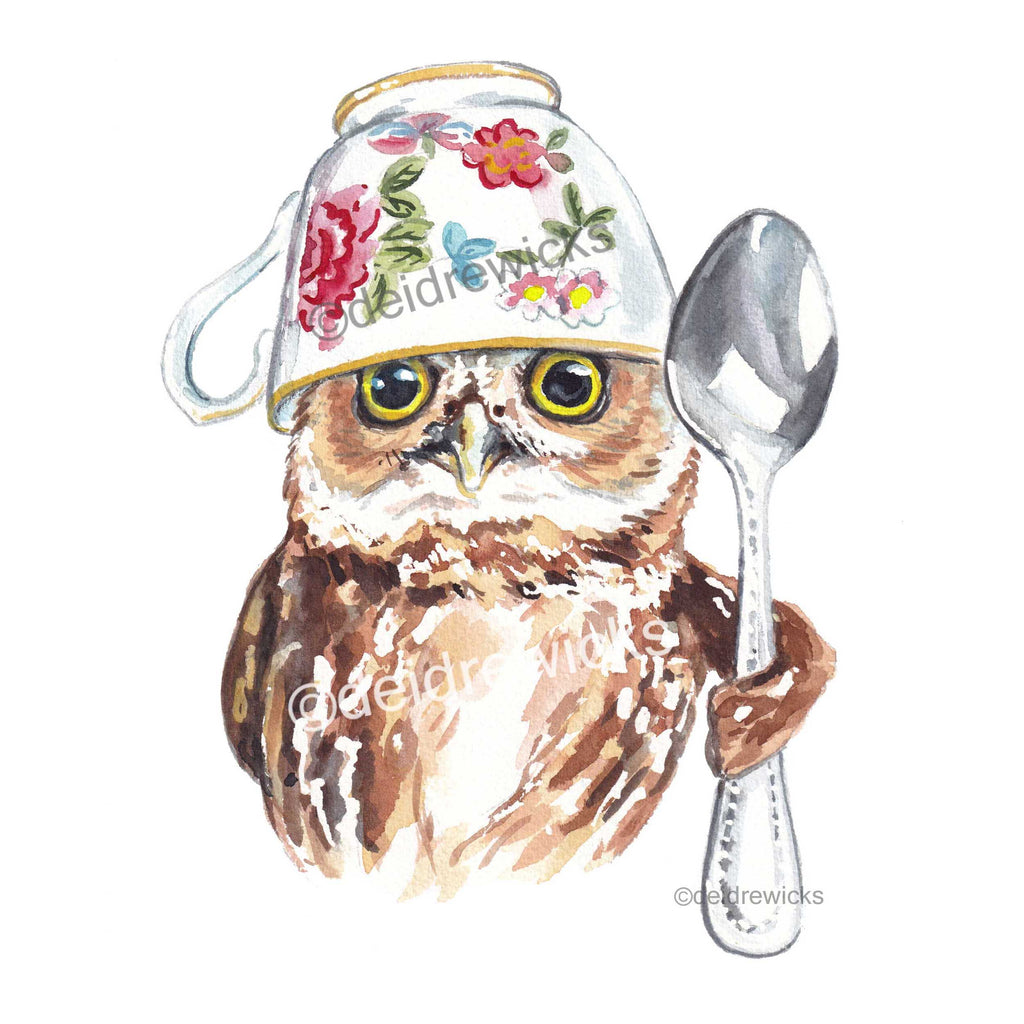 Watercolour painting of a Northern saw-whet owl wearing a tea cup on it's head and holding a spoon
