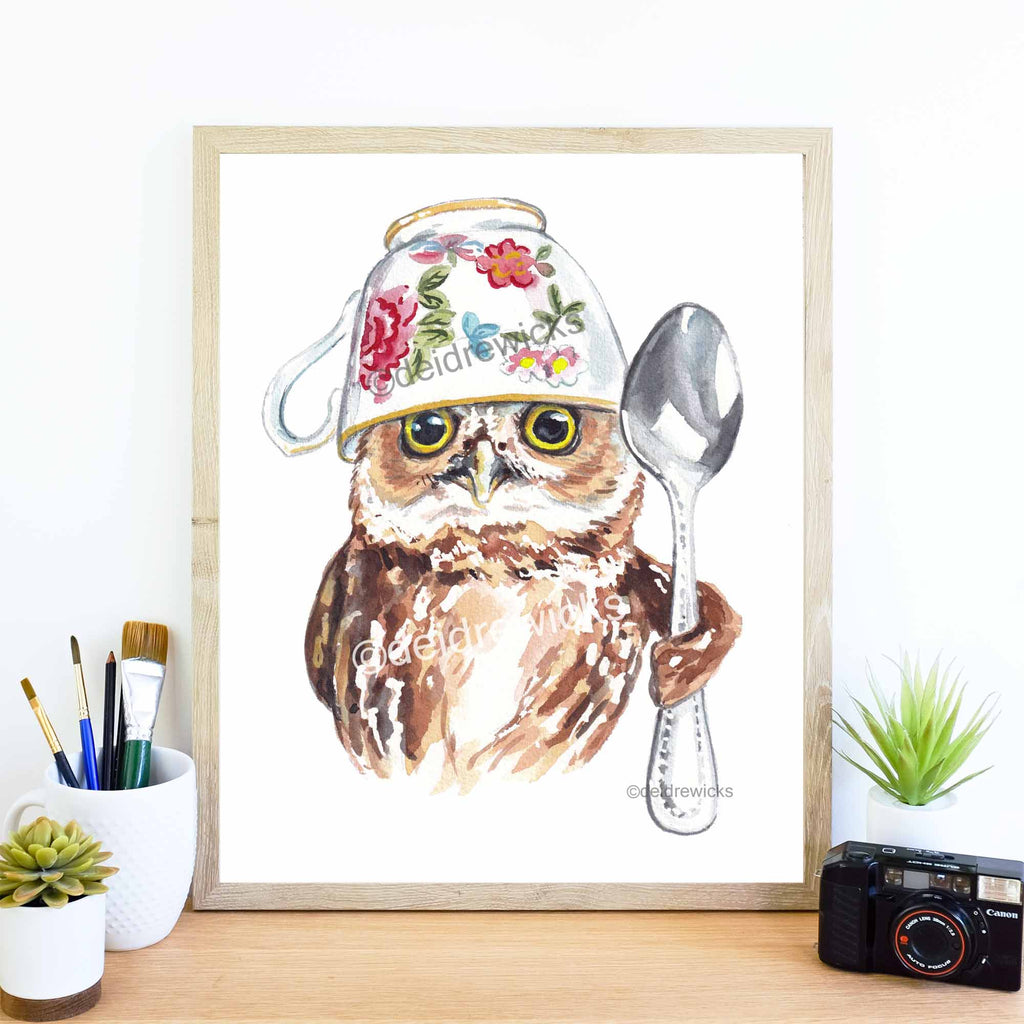 Adorable watercolor print of a northern saw-whet with a tea cup on it's head