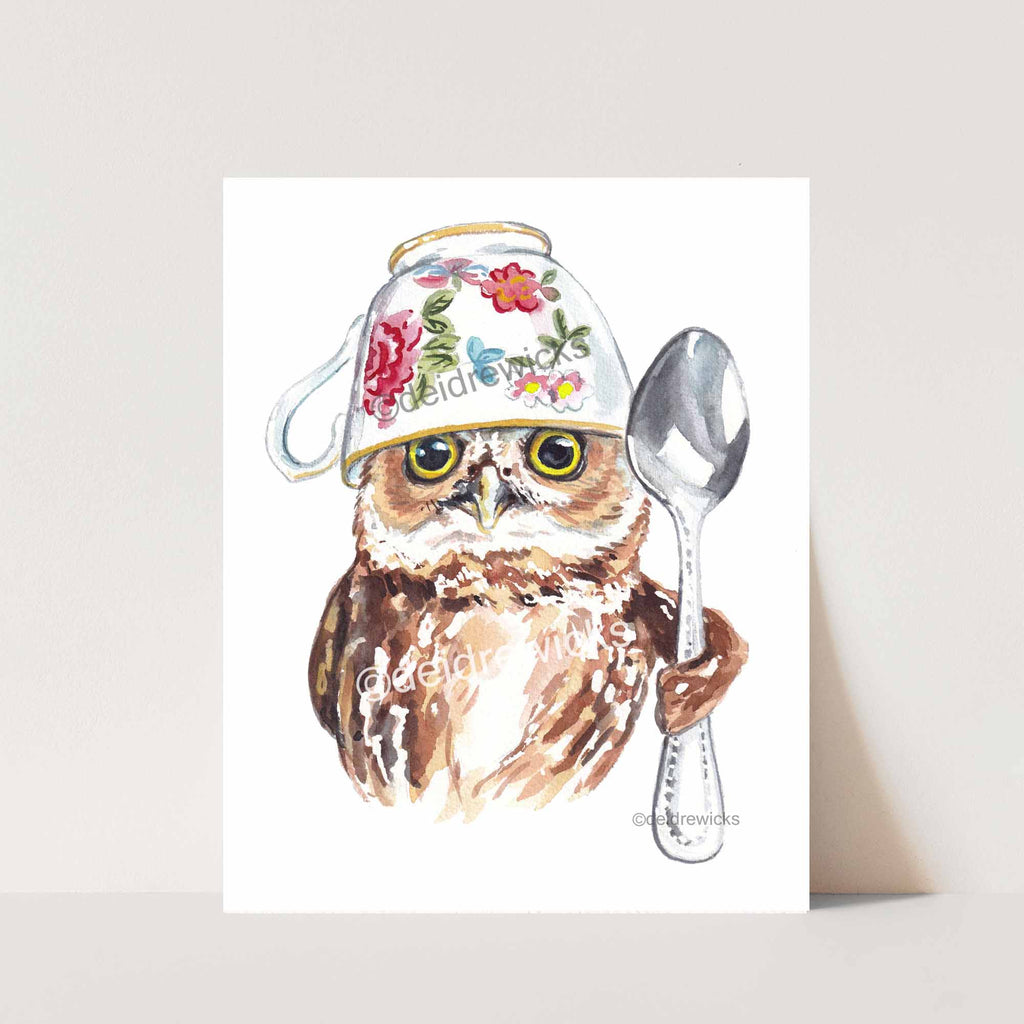 Northern Saw Whet owl with a tea cup and spoon, watercolor painting by Deidre Wicks