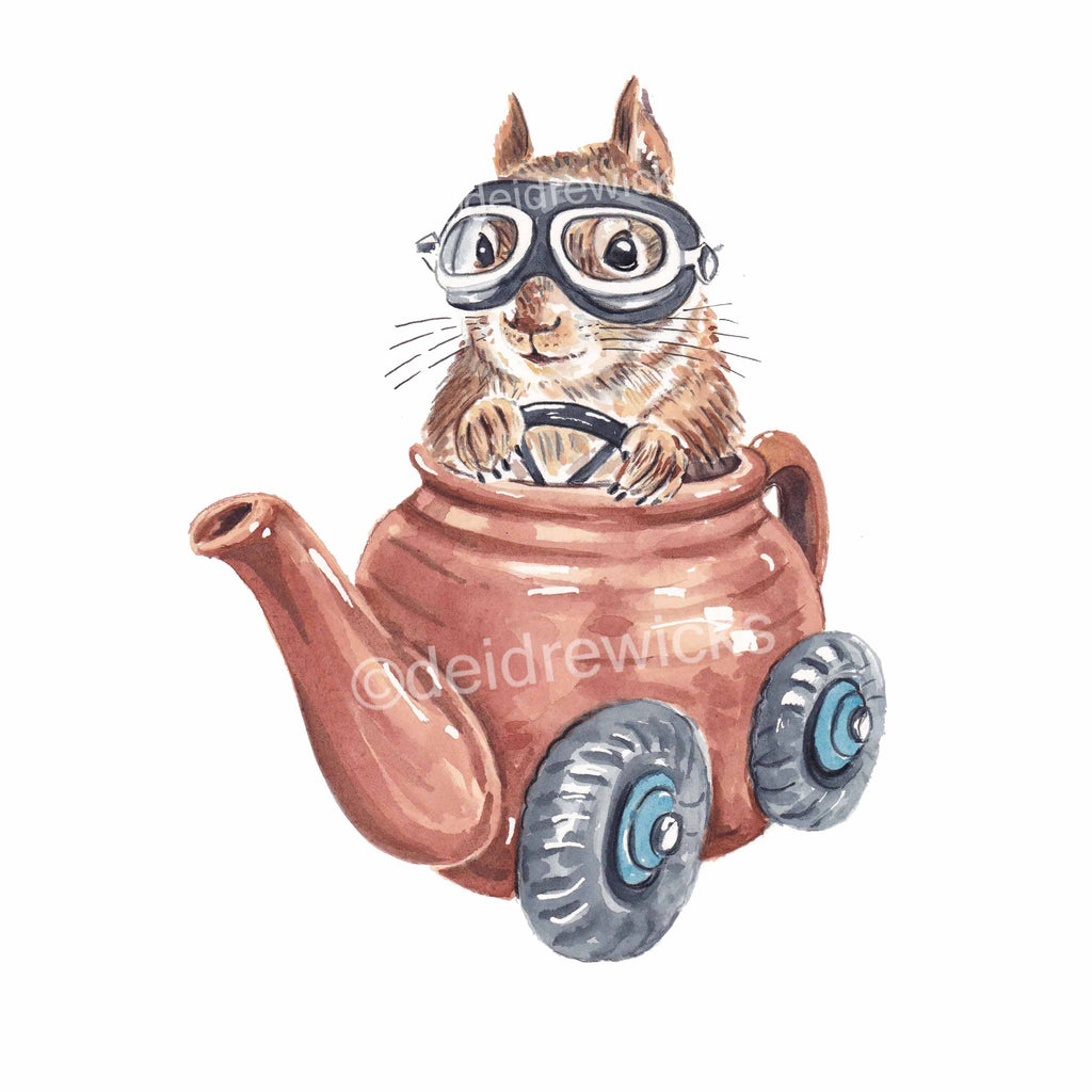 Watercolor painting of a squirrel driving a tea pot like a race car