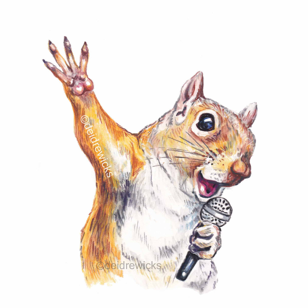 Pastel pencil drawing of a red squirrel singing his heart out. He's a crooner through and through!
