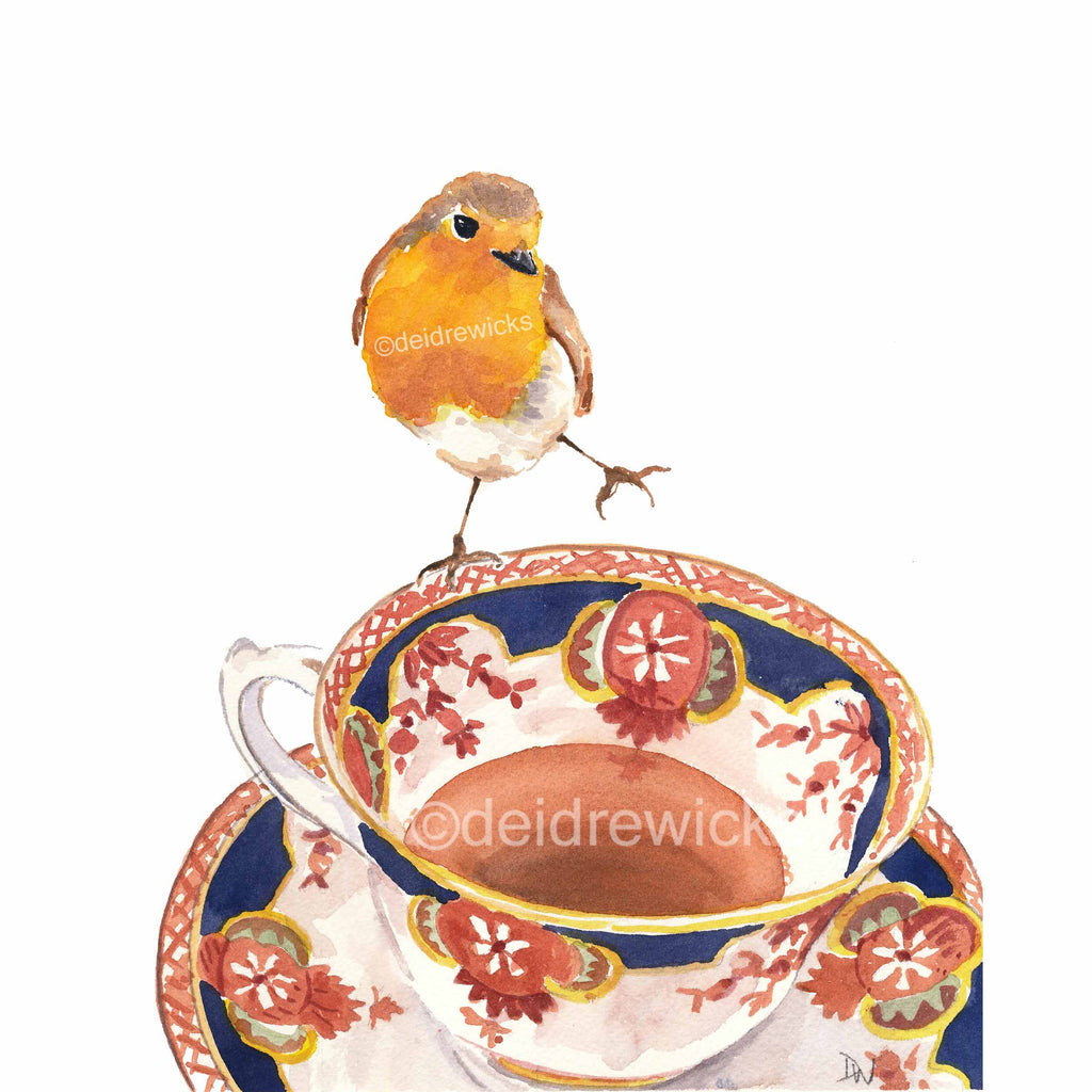 Watercolour painting of an English robin bird balancing on the rim of a vintage tea cup