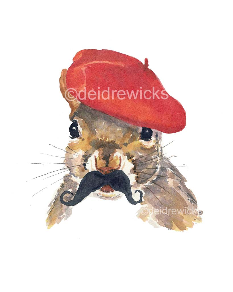 Watercolor print of a squirrel with a mustache wearing a red beret