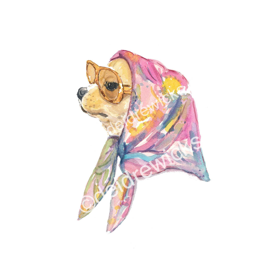 Watercolor painting print of a chic vintage style chihuahua dog