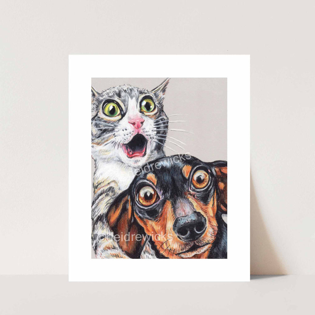 Crayon drawing print of an adorably shocked grey tabby cat and dachshund dog by artist Deidre Wicks