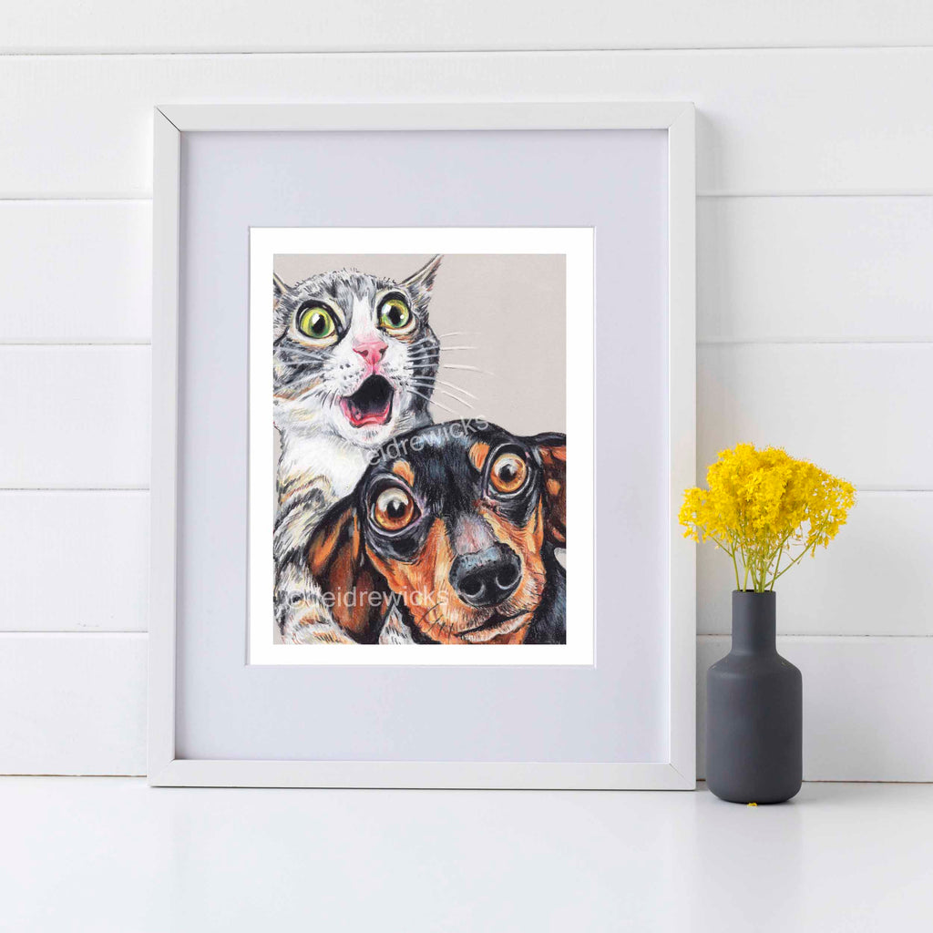 Framed example of a shocked grey kitten and dachshund dog by Water In My Paint