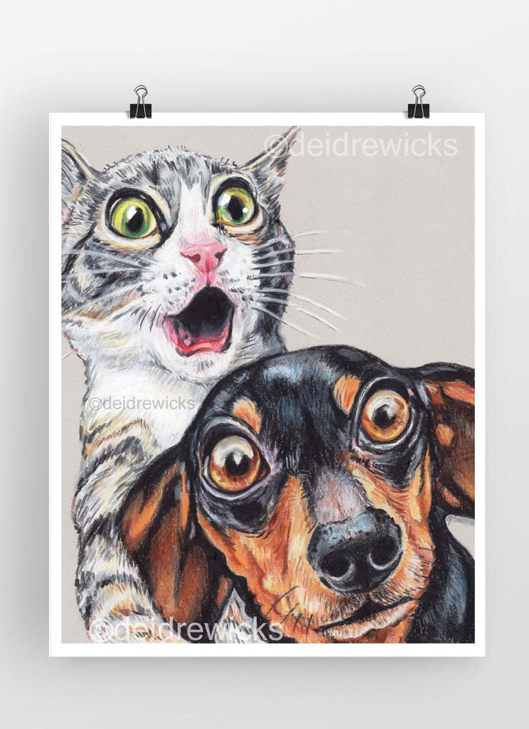 Crayon drawing of a frightened gray tabby cat kitten and her dachshund dog bff