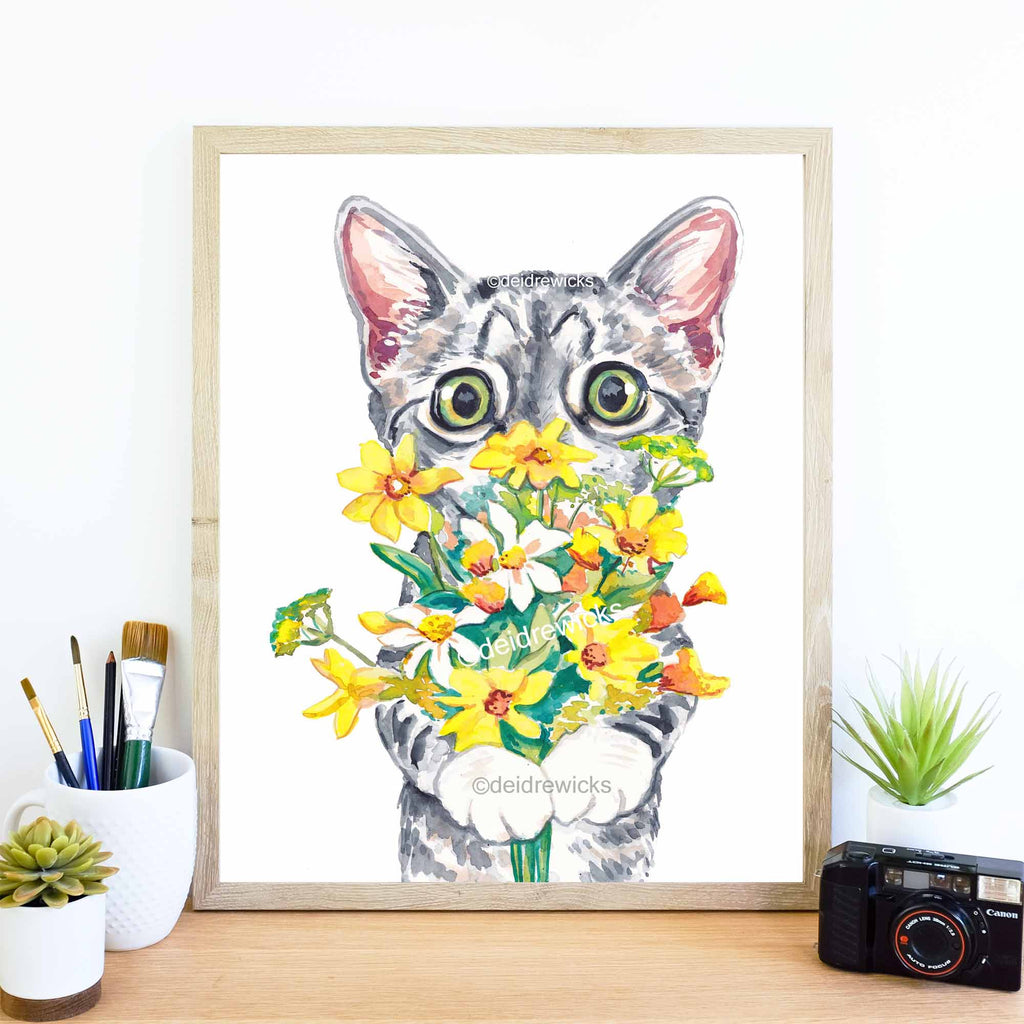 Example of how to frame a cat watercolor print by artist Deidre Wicks