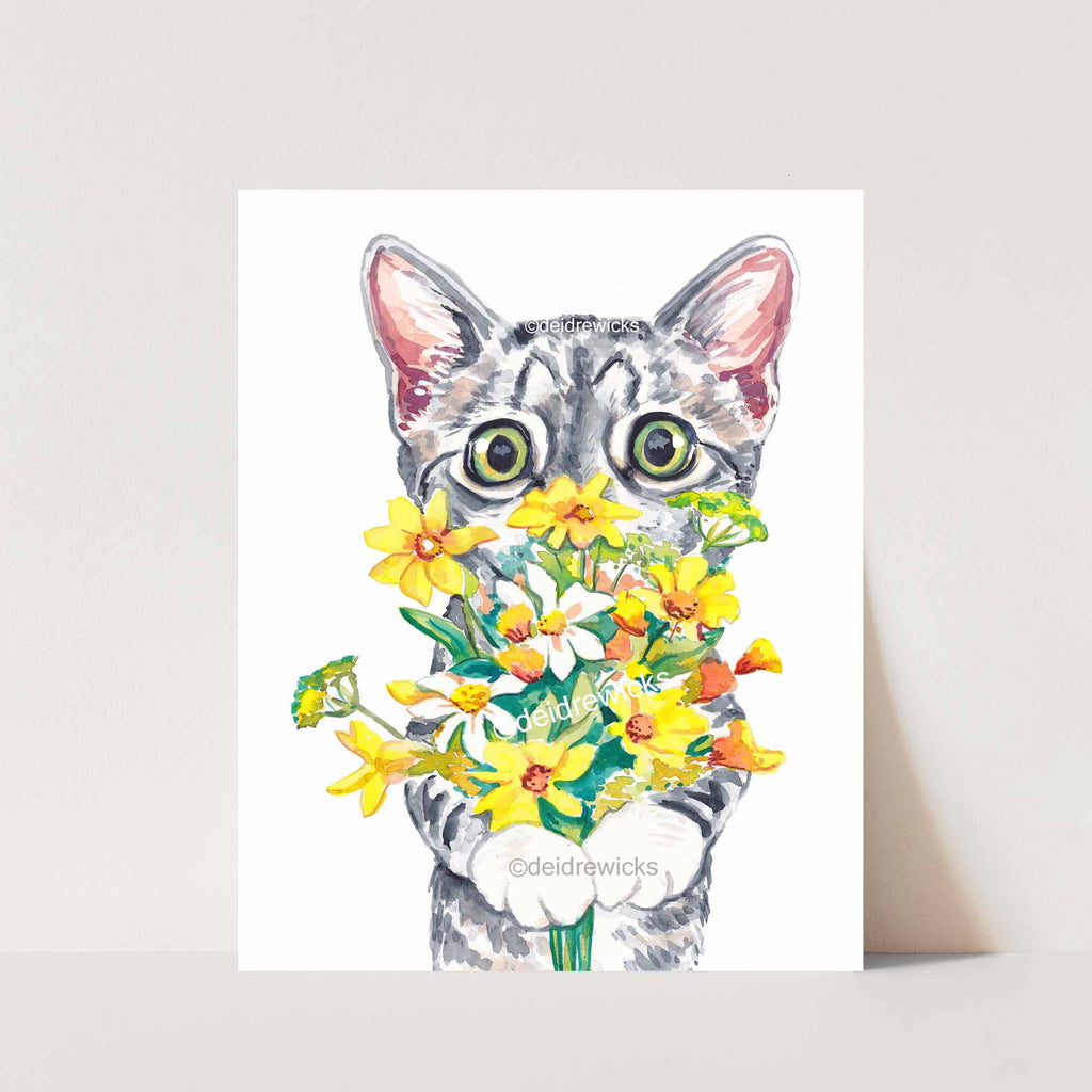 Watercolor print of a big-eyed grey tabby kitten holding