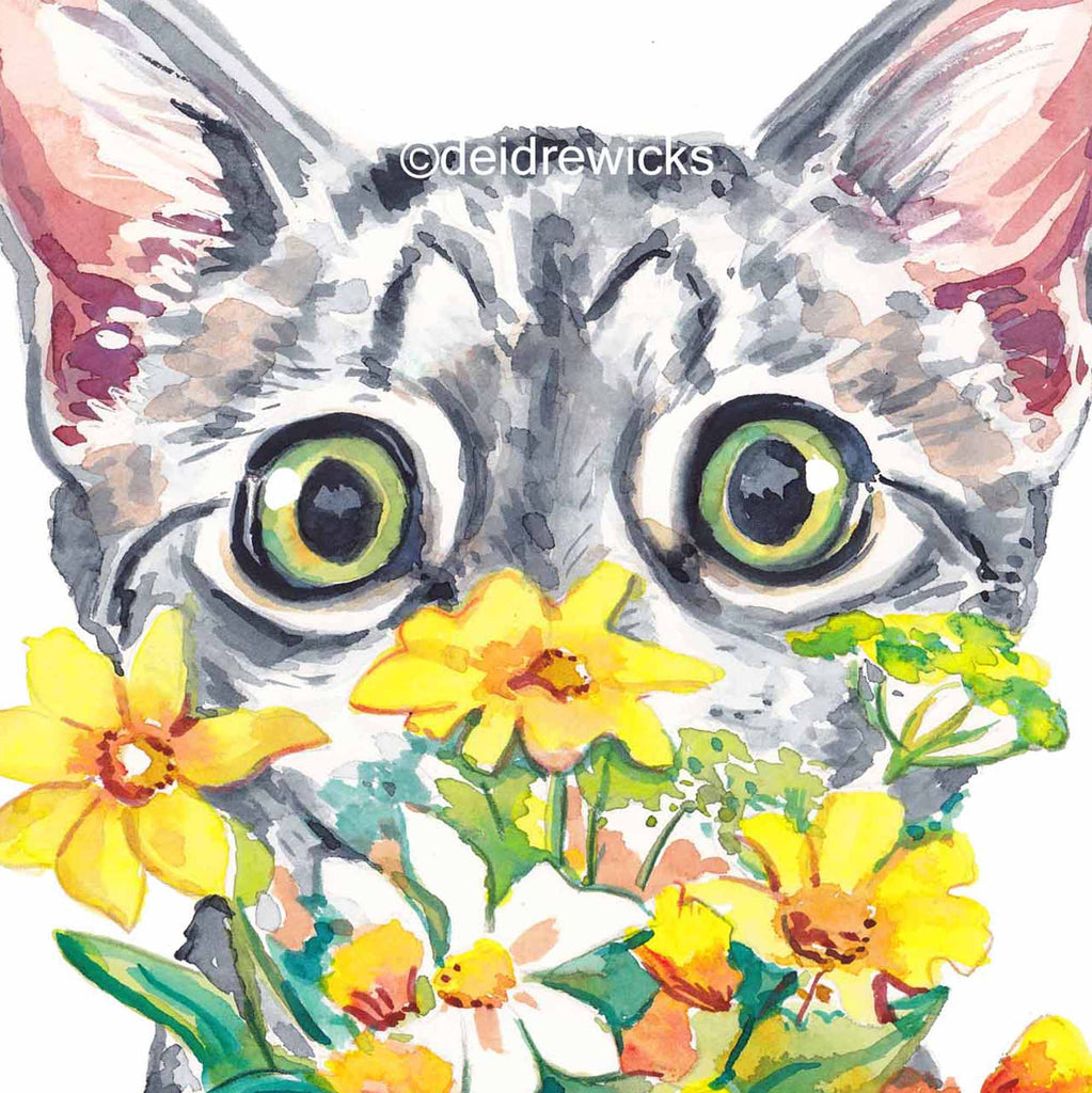 Close up of a watercolour painting of a kitten holding a bunch of yellow flowers by Water In My Paint