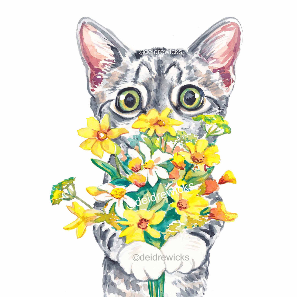 Cat watercolor painting of a grey tabby kitten holding yellow and orange flowers